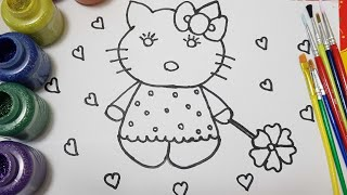 How to draw hello kitty/learn colors/learn to hello kitty glitter painting for kids/old mcdonald