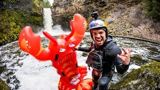 Rafa Ortiz Rides Inflatable Pool Toy Off 70-Foot Waterfall!! thumbnail