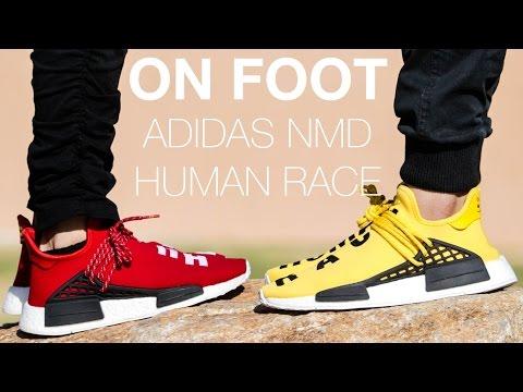 buy popular 7a6fe 189a3 PHARRELL X ADIDAS NMD HUMAN RACE ON FOOT - YouTube