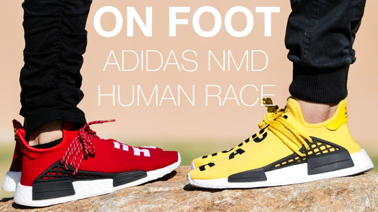 low priced 614c6 d924e PHARRELL X ADIDAS NMD HUMAN RACE ON FOOT