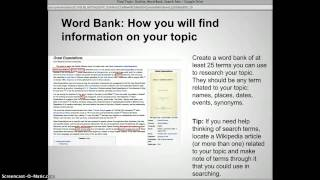 Final Topic: Creating an Outline, Word Bank, Search Setss
