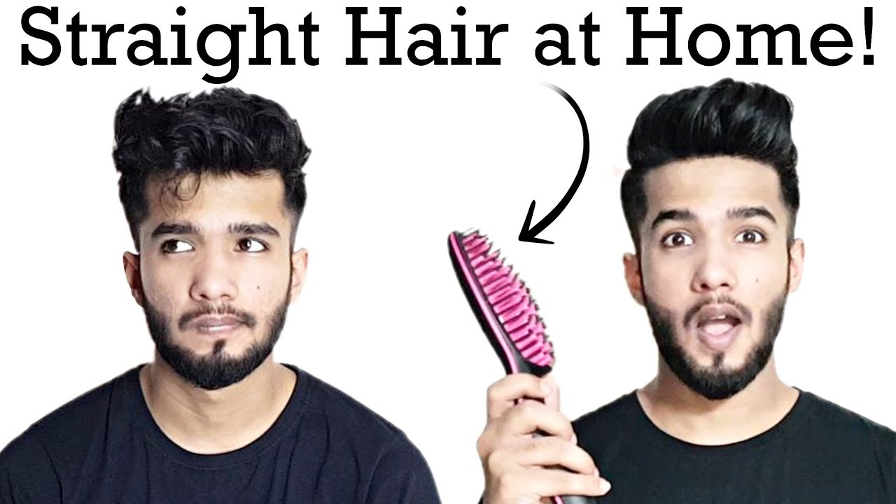 How To Use Straightening Brush Men Straight Hair At Home Youtube