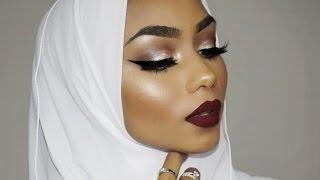 Brown smokey eye with a red lip | Sabina Hannan