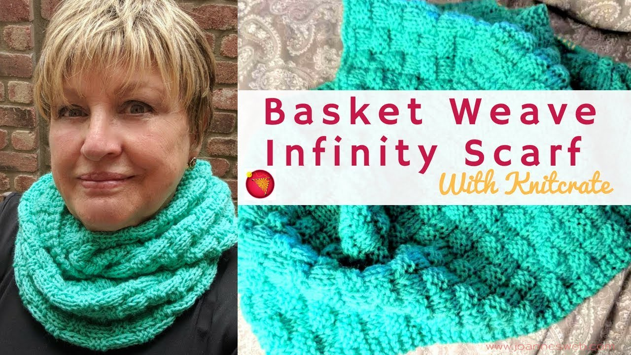 Knitted Basket Weave Infinity Scarf With Knitcrate Checkered