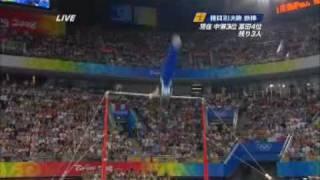 20080819 北京五輪体操鉄棒 金(中国)と銀(アメリカ)の演技.flv