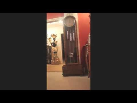 Antique Art Deco Walnut Chiming Longcase Clock C1935