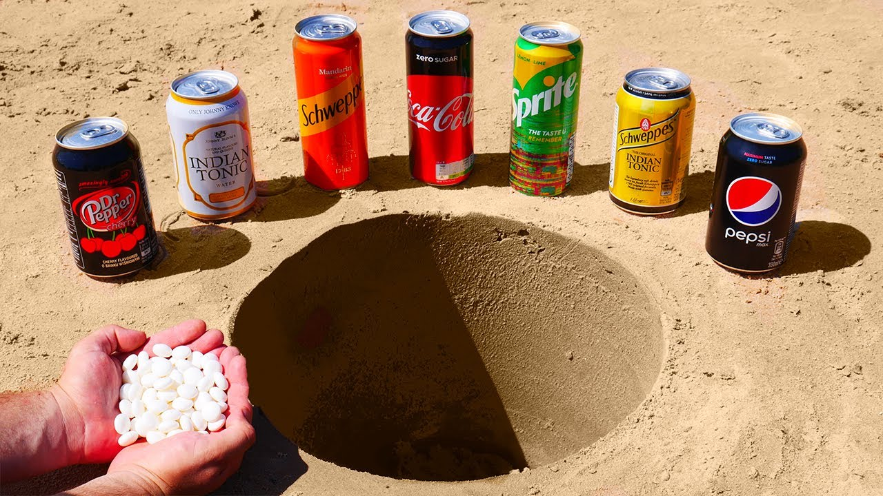 Coca Cola, Indian Tonic, Schweppes, Sprite, Dr Pepper, Pepsi vs Mentos Underground!