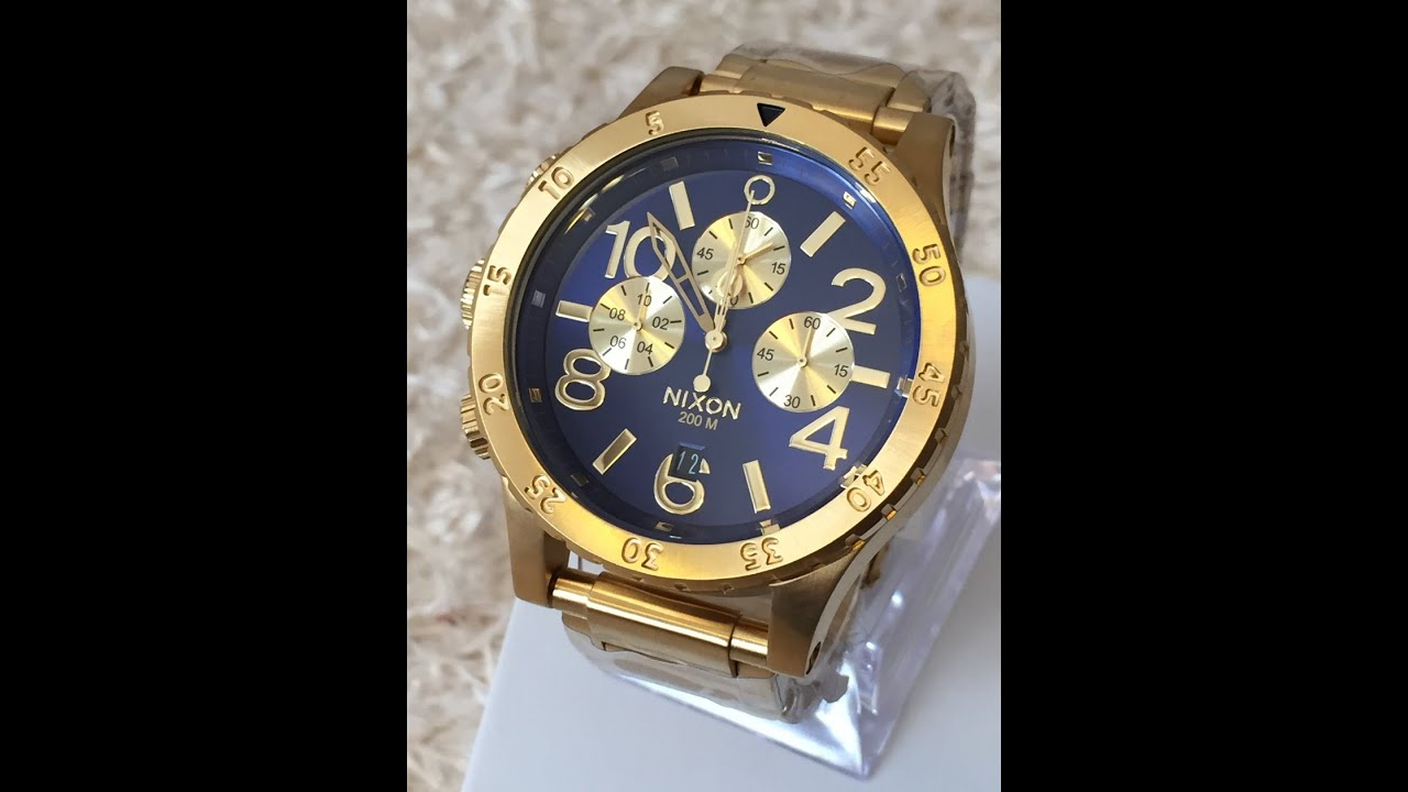 coolwatch31 a486 1922 nixon 48 20 chrono gold blue sunray surf skate a4861922 youtube