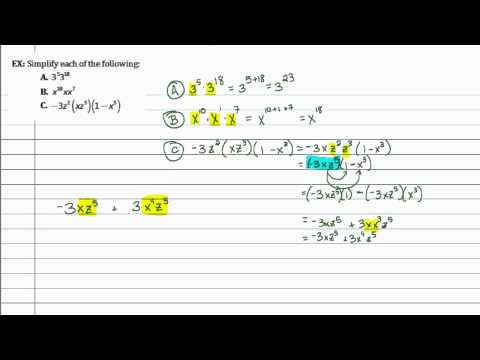 Intermediate Algebra - Review 5: Laws of Exponents