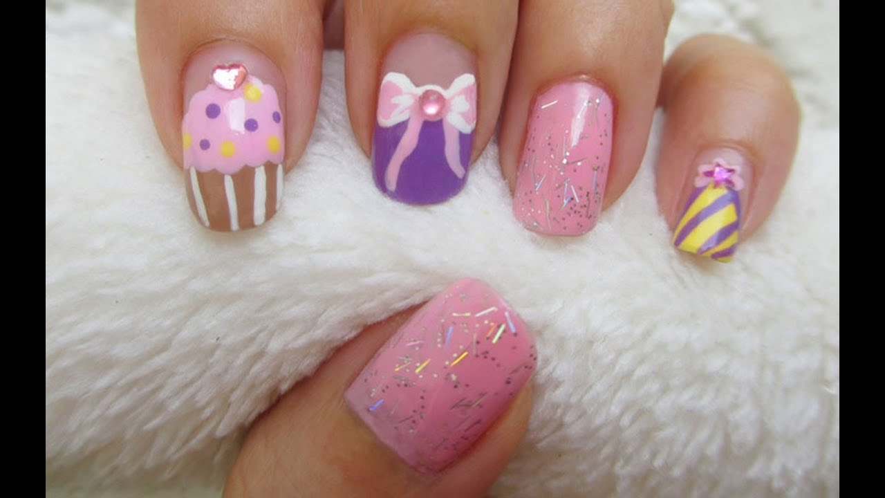 Birthday Nail Art - Birthday Nail Art - YouTube