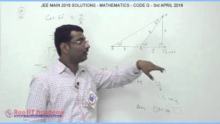JEE MAIN 2016 SOLUTIONS  MATHEMATICS Q 1 TO Q 6 SET G