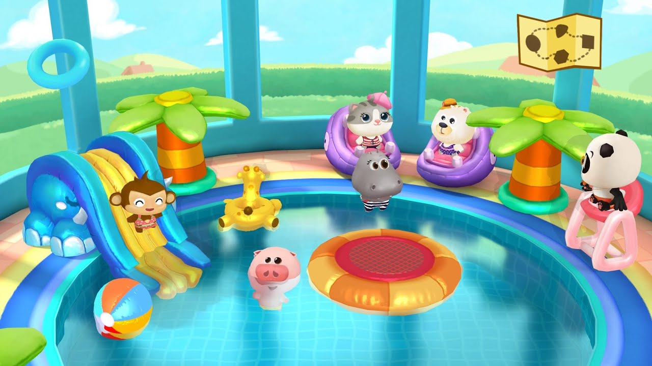 Dr panda swimming pool game play kids app youtube - Swimming pool games for two players ...