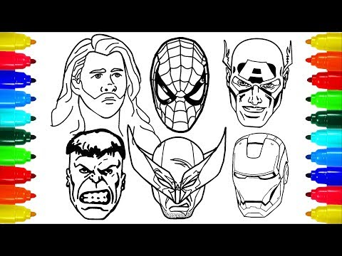 Spiderman Iron Man Wolverine  Thor Coloring Pages | Colouring Pages for Kids with Colored Markers