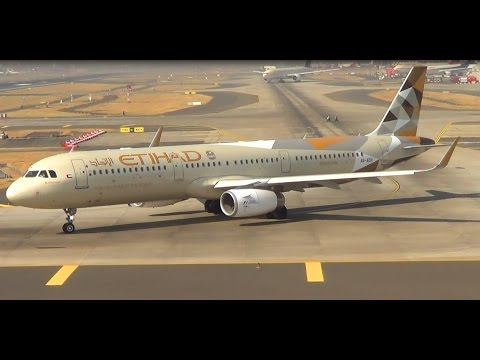 Gulf Air & Etihad Airways Airbus A321 Back 2 Back Takeoff from CSIA Mumbai.