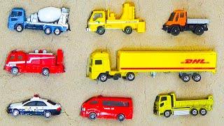 トミカ 砂パズル パトカーや消防車などのはたらくくるまが登場するよ!【TOMICA 童謡 ロンドン橋落ちた 知育 子供向け 教育】