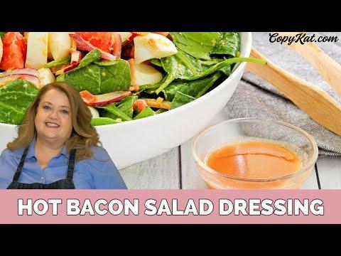 Hot bacon salad dressing spinach salad