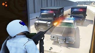 Beamng Drive - Police Chase Machine Gun vs Bandits #2 (dummy crashes, Machine gun crash testing)