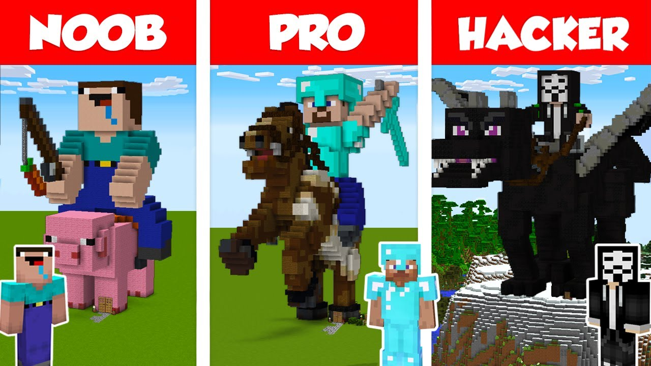 Minecraft NOOB vs PRO vs HACKER: STATUE HOUSE BUILD CHALLENGE in Minecraft / Animation