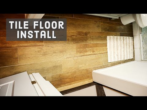 How to Install Wood Tile to Concrete Floor in the Bathroom - DIY