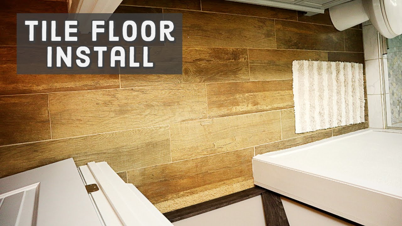 how to install wood tile to concrete floor in the bathroom diy