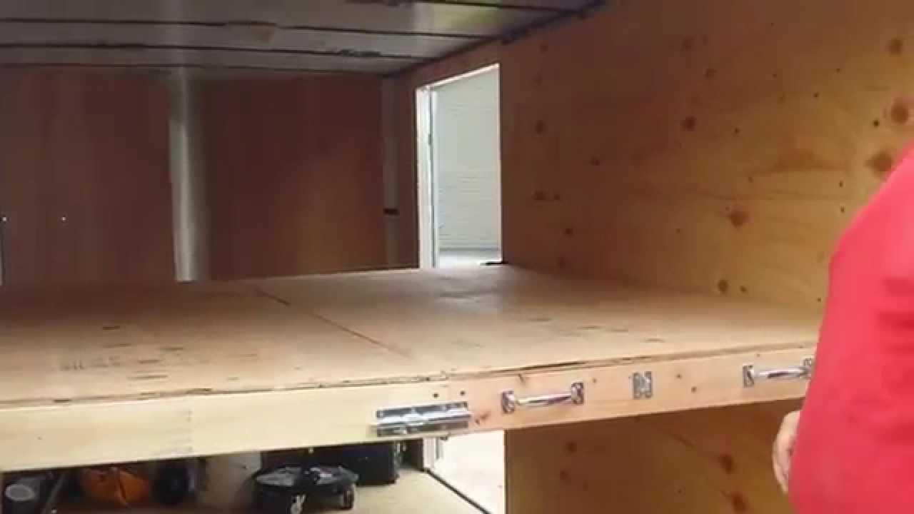 Enclosed Trailer Shelving >> Folding Trailer Shelf - YouTube