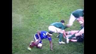Sean O'Brien knocks out Yoann Huget (bad audio)