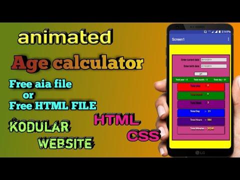 Age Calculator Aia File || Age Calculator Html File || Animated Age Calculator Aia File