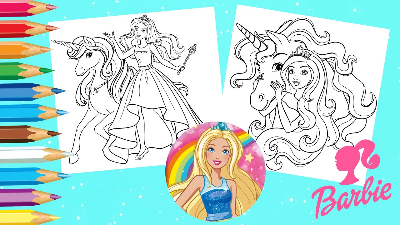 Coloring Barbie Dreamtopia Unicorn Coloring Pages - Barbie Dreamhouse Coloring Book