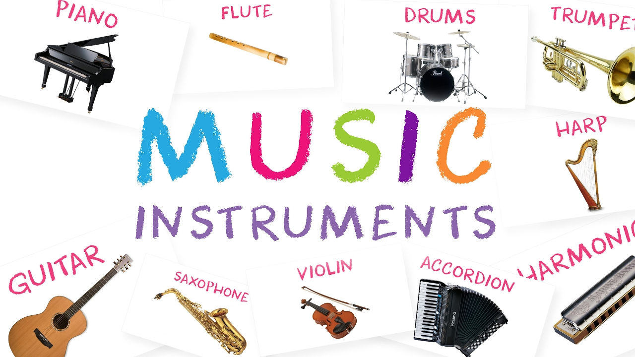 musical instruments for kids with sound | learn names of musical