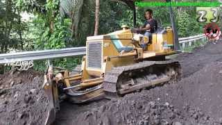 Dump Truck Unloading Dirt Dozer Pushing Grading Dirt