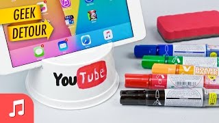 DIY iPhone 6 Stand & iPad Stand: very cheap stand with disposable plastic bowl [MUSIC ONLY]