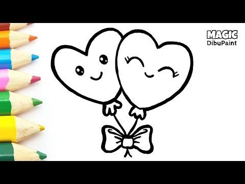 Dibujos Kawaii Love Cómo Dibujar Globos De Corazones Para San
