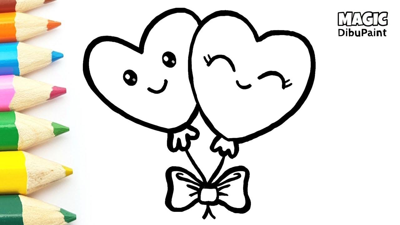 Dibujos Kawaii Love Cómo Dibujar Globos De Corazones Para San Valentín