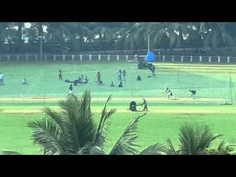 Master Blaster Sachin doing nets at MCA Club BKC