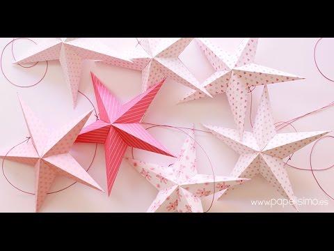 M vil de techo para ni os con estrellas de papel youtube - Papel infantil para pared ...