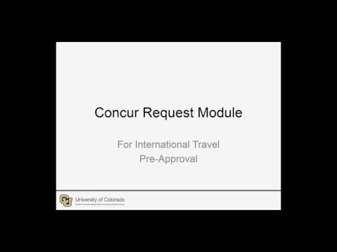 Concur Request Module For International Travel Pre Approval - Recorded 12/17/2015