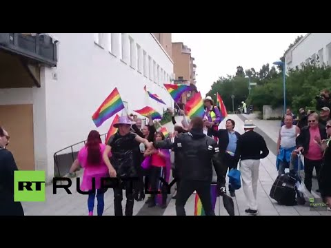 Sweden: Far-right group protest for LGBT rights in Muslim area