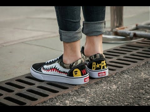 3131e3141c Unboxing the Vans old skool x BAPE camo ON-FEET - YouTube