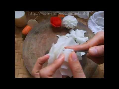 Tỉa hoa hồng từ củ cải trắng