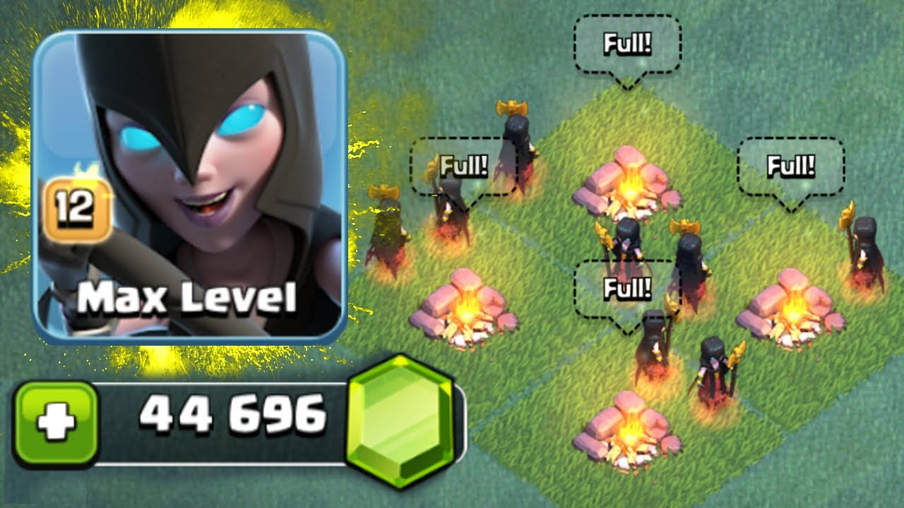 FINALLY! GEM TO MAX LEVEL 12 NIGHT WITCHES! - Clash Of Clans - BUILDERS  HALL 6 MAX GAME PLAY!