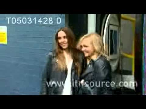 Spice Girls Melanie C & Emma Bunton pose outside Sarm Studios in London