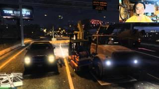 GTA5 PC GTAV Forklift truck attack フォークリフトで大暴れ 爪の操作が反対です パトカー襲撃 グランド・セフト・オート