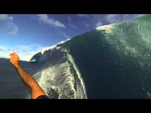 'Garrett McNamara' 'Teahupoo' 'Tahiti' 3 angles, 'GoPro' survived wipeout