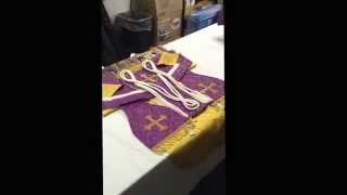 Preparing vestments for the Holy Sacrifice of the Mass. Traditional and proper method.