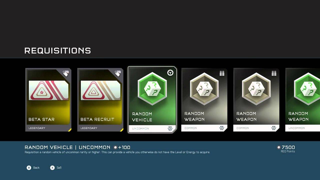 Halo 5: Guardians - Requisitions From Beta: Beta Star, Random Vehicle,  Random Weapon (Emblems etc)