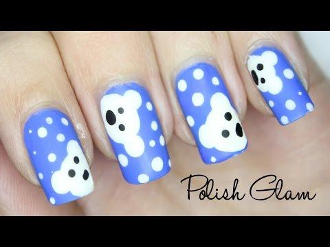 Cute Polar Bear Nail Art Design   Easy Tutorial!