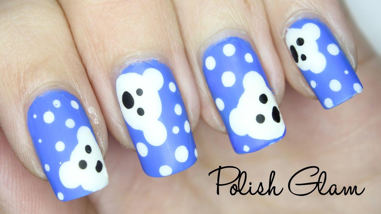 cute polar bear nail art design
