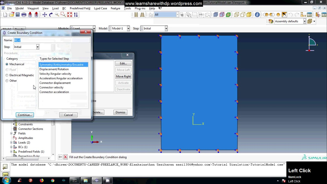 Fixed and Pinned boundary condition in abaqus