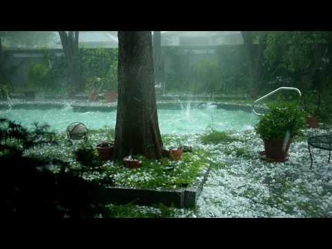 Large hail hitting pool 5/16/10 NW Oklahoma City