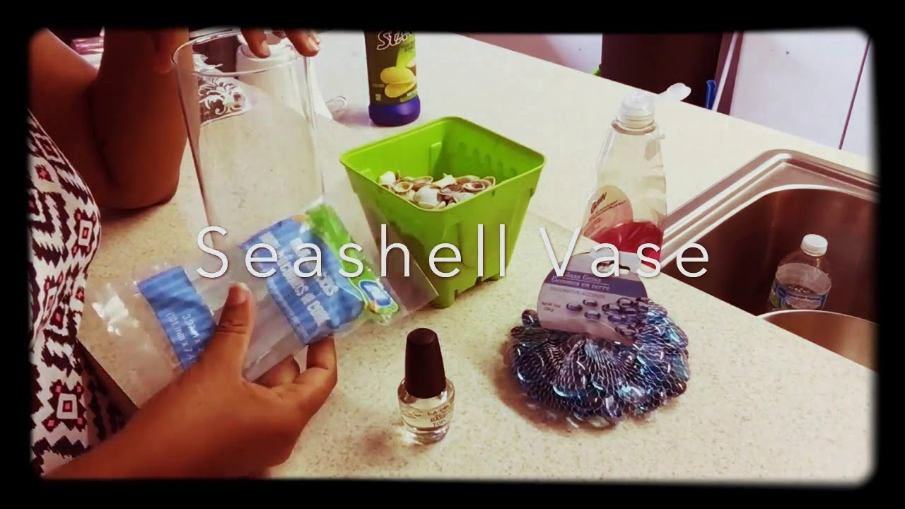 Diy sea shell vase easy to do youtube diy sea shell vase easy to do reviewsmspy